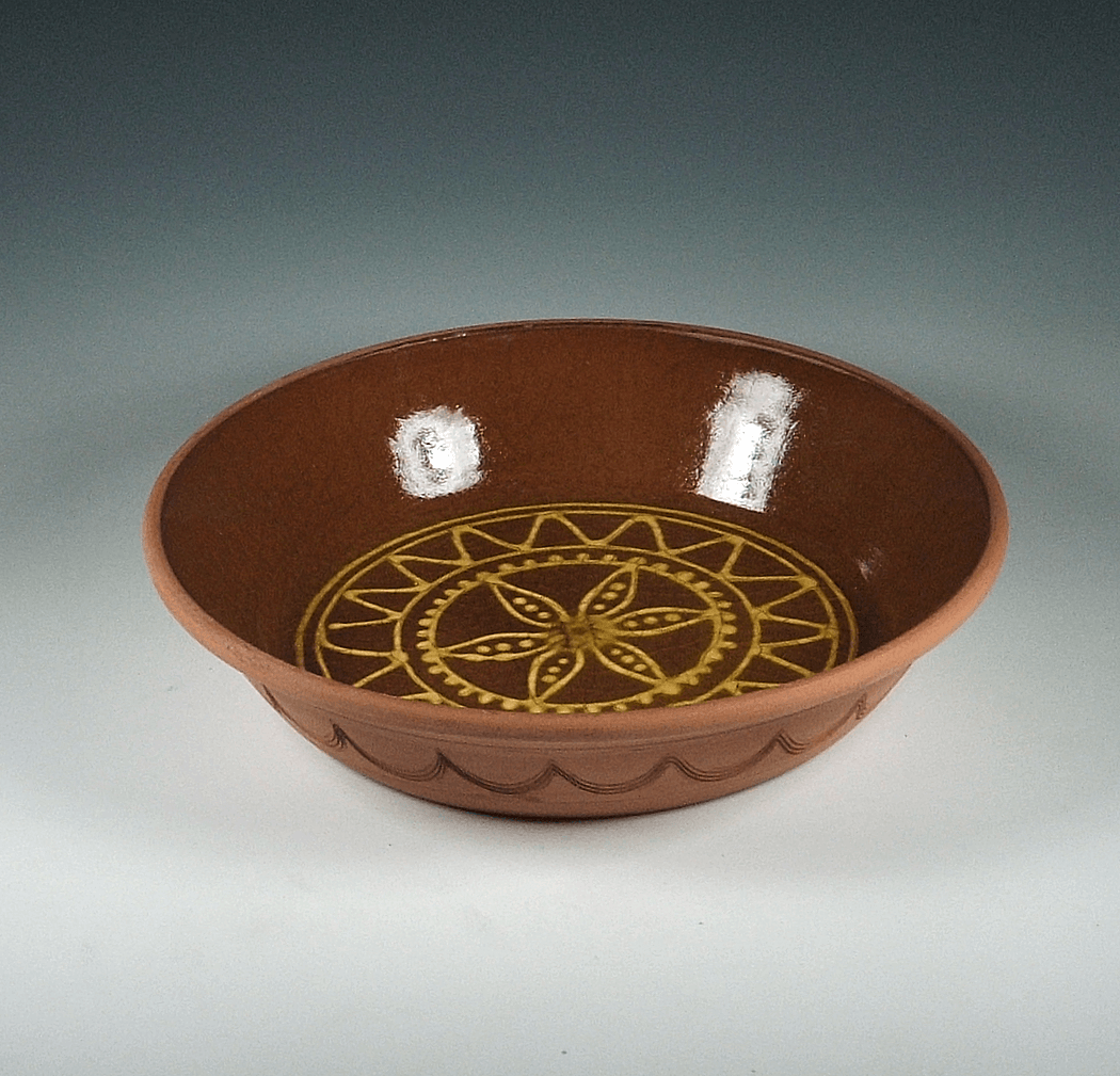 Bake Dish, Slipware, Sunburst with Floral