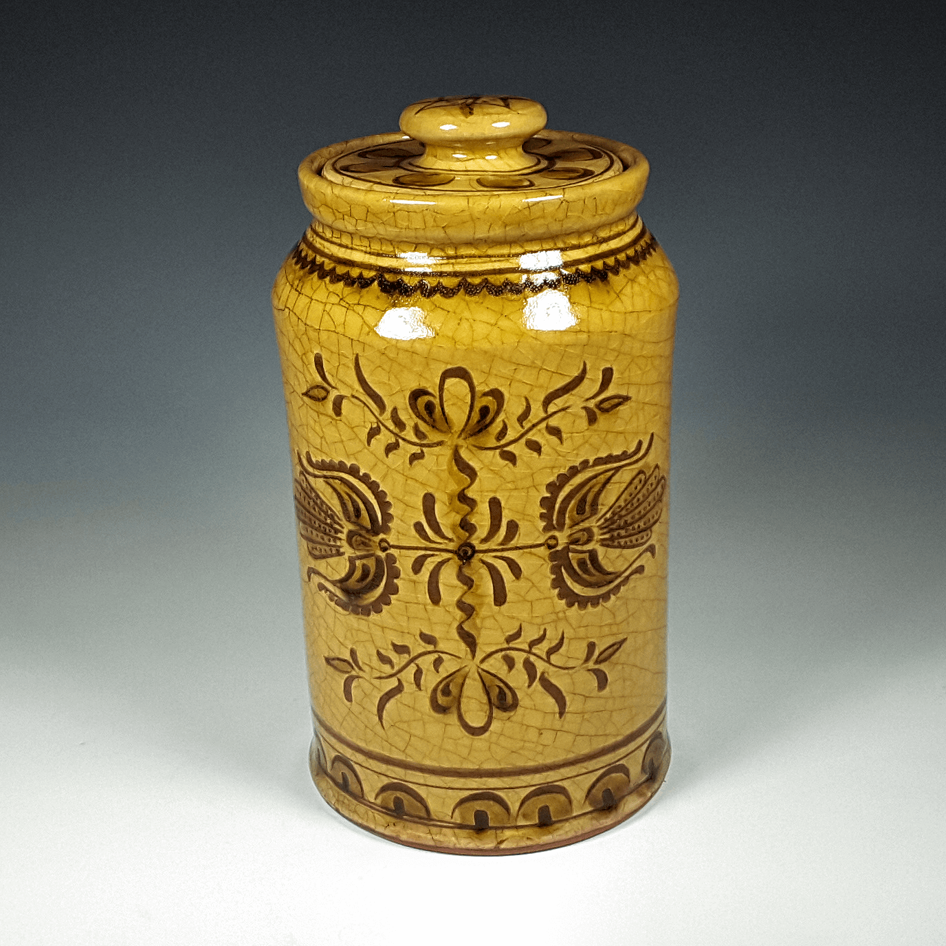 Cannister, Sgraffito, 2 Tulips