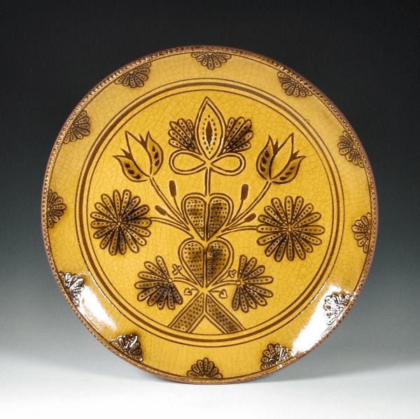 Round Plate, Sgraffito, Devon Posies