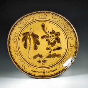 Round Plate, Sgraffito, May War Ever Cease