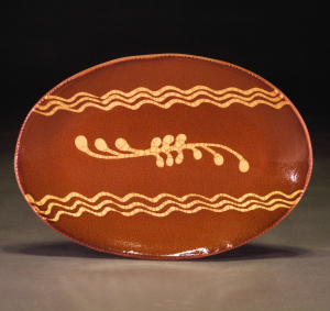 Oval Plate, Slipware, Swag and Waves