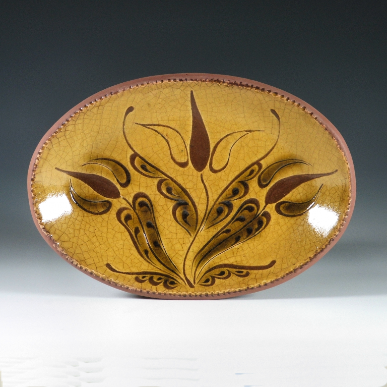 Oval Plate, Sgraffito, 3 Tulips