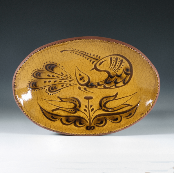 Oval Plate, Sgraffito, Peacock