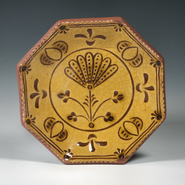 Octagon Plate, Sgraffito, Thistle