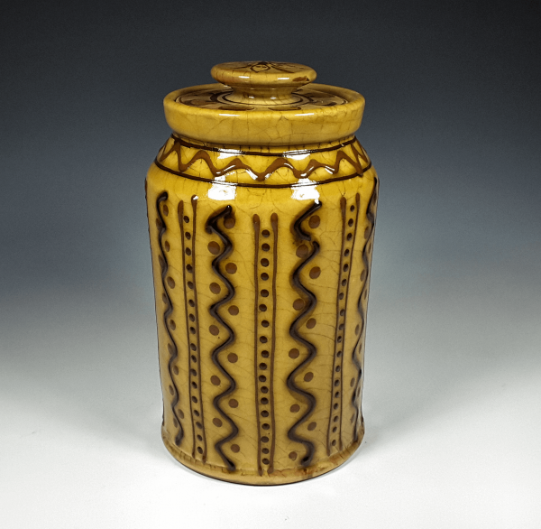 Canister, Yellow Trail,, Wavy Lines