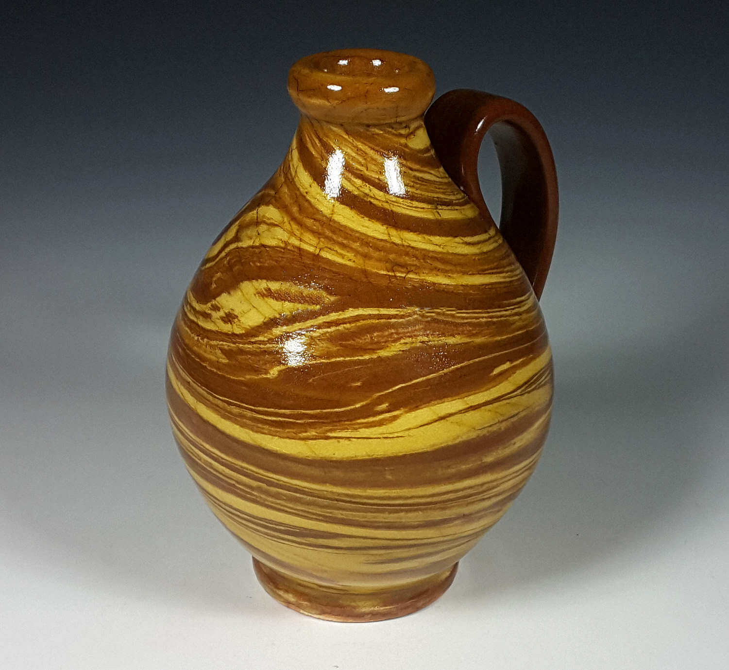 Jug, Yellow Slipware, Wavy Lines