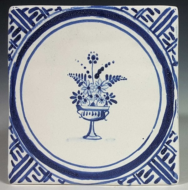 Blue and white tile, Round Urn