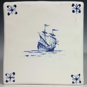 Blue and white tile, 2 Masted Ship