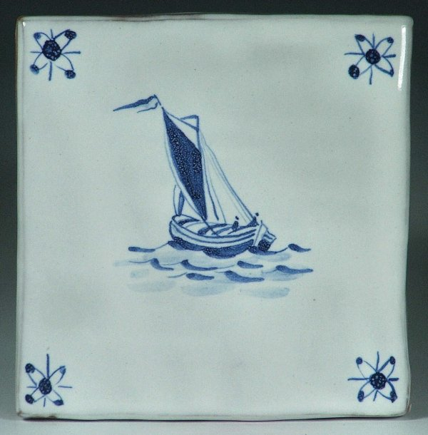 Blue and white tile, Herring Boat