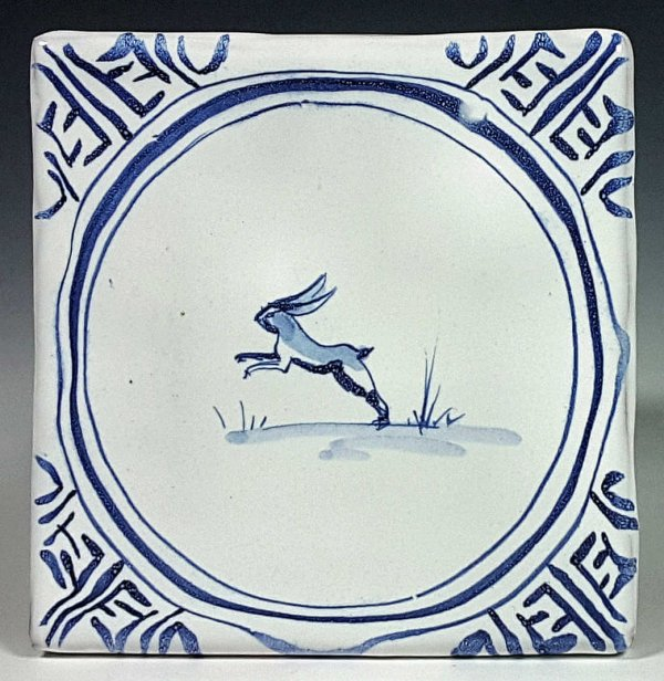 Blue and white tile, Leaping Rabbit