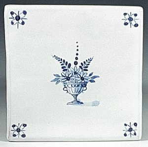 Blue and white tile, Potted Floral