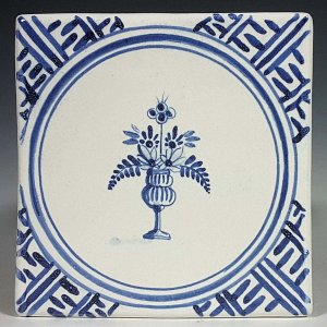 Blue and white tile, Round Vase