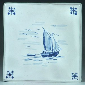 Blue and white tile, Ship and Boat