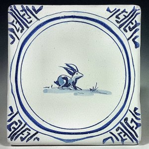 Blue and white tile, Sitting Rabbit