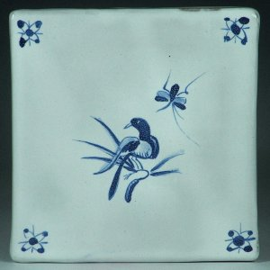 Blue and white glazed tile, Bird and Bug