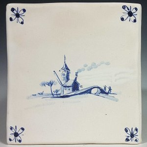 Blue and white glazed tile, Bridge