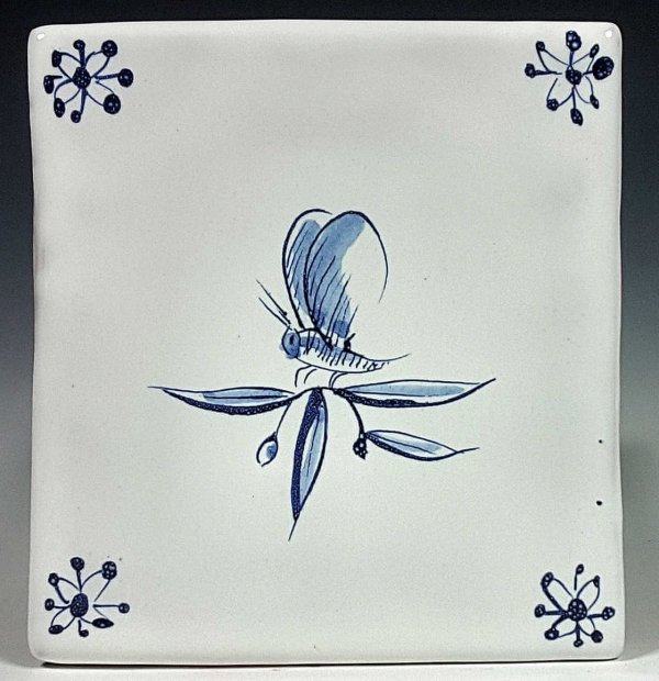 Blue and white tile, Butterfly