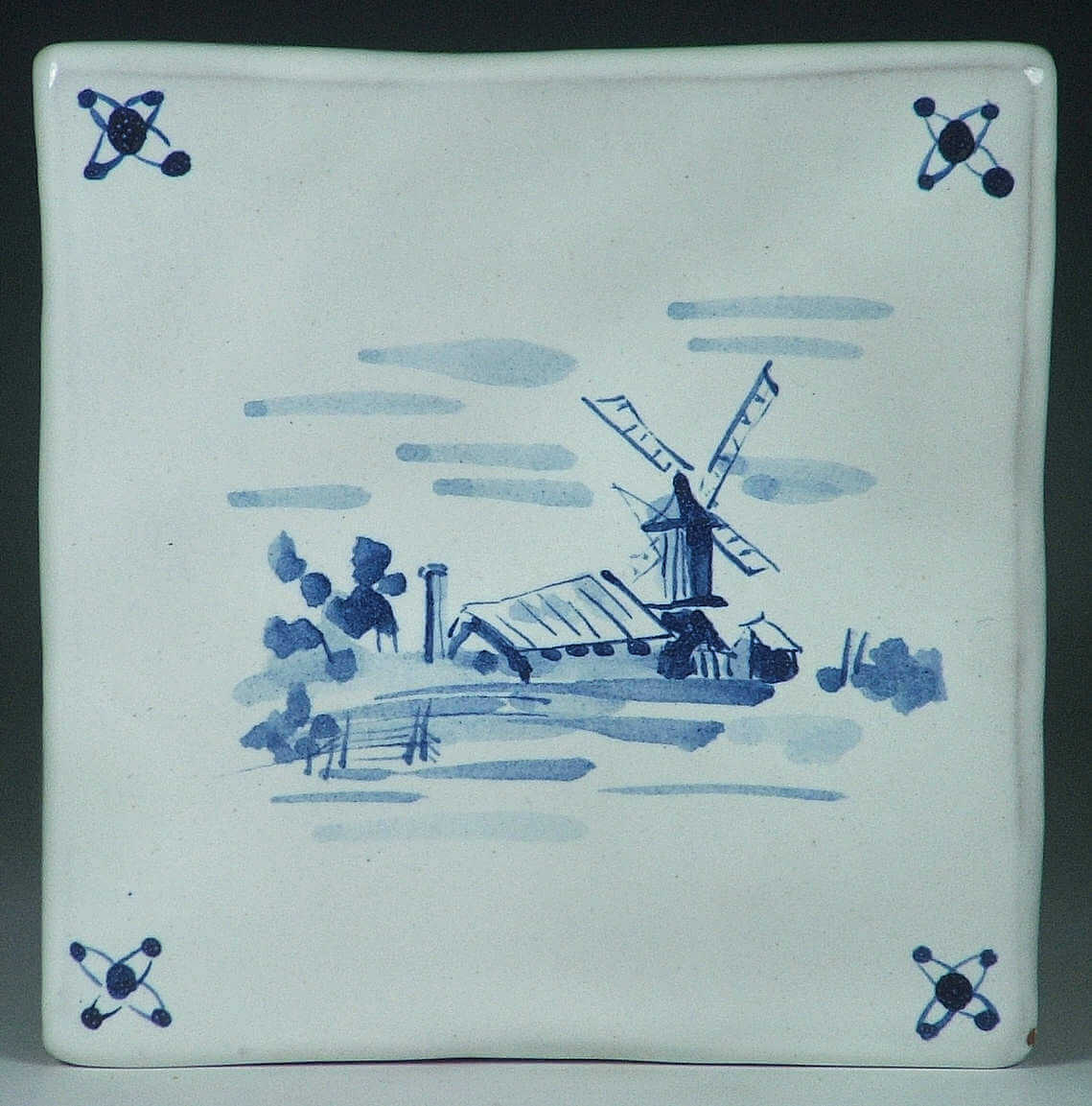Blue and white glazed tile, Windmill