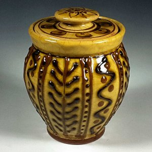 Oval Jar, Yellow Slipware, Cross Lines