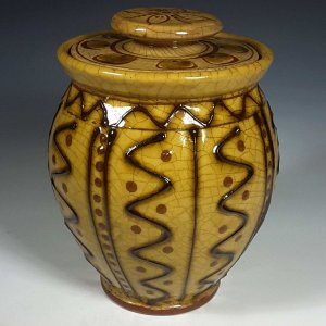 Oval Jar, Yellow Slipware, Wavy Lines