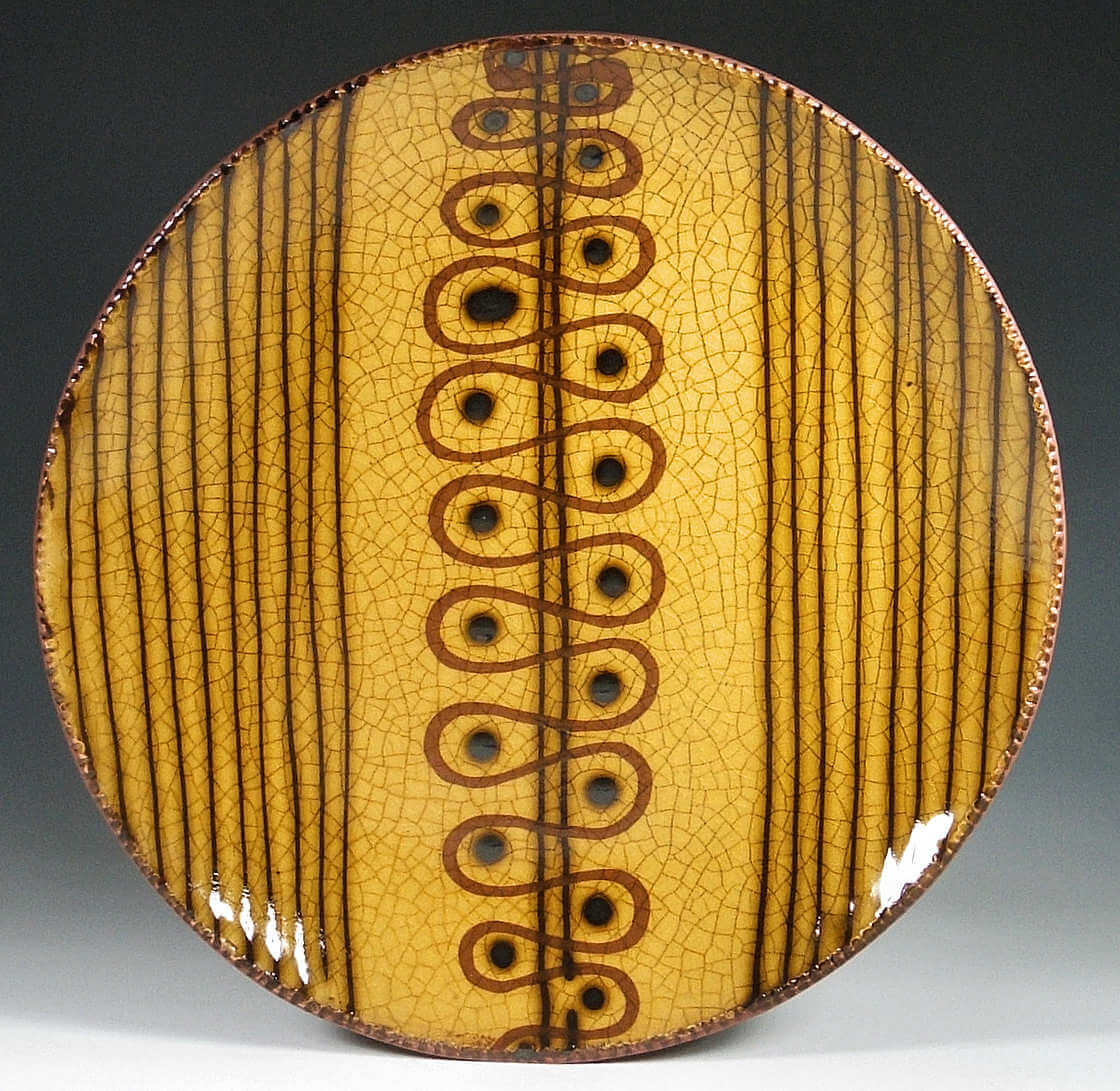 Round Plate, Yellow Slipware, Loop and Line