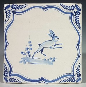 Blue and white Leaping Hare tile