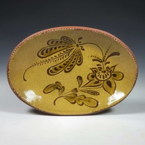 Oval Plate, Sgraffito, Sprig