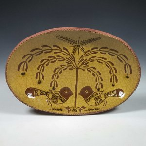 Oval Plate, Sgraffito, Tree of Life