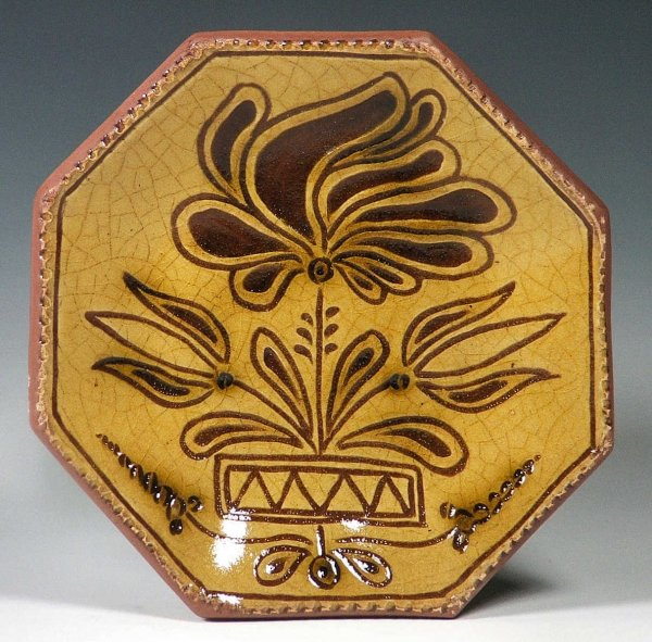 Octagon Plate, Sgraffito, Floral