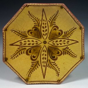 Octagon Plate, Sgraffito, Vine and Leaf