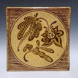 Tile, Sgraffito, Floral Spray