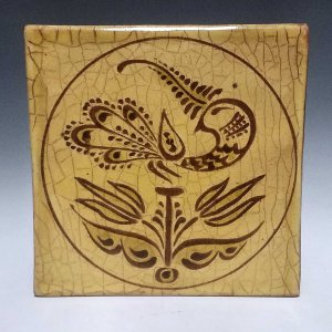 Tile, Sgraffito, Peacock