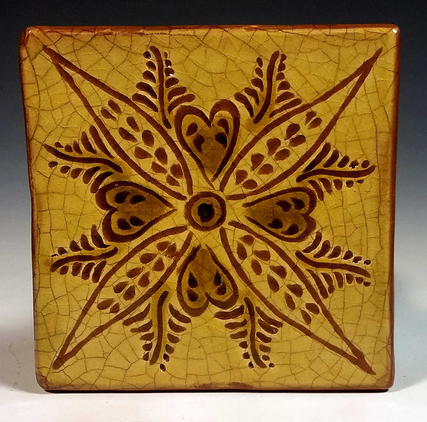 redware tile vine and leaf