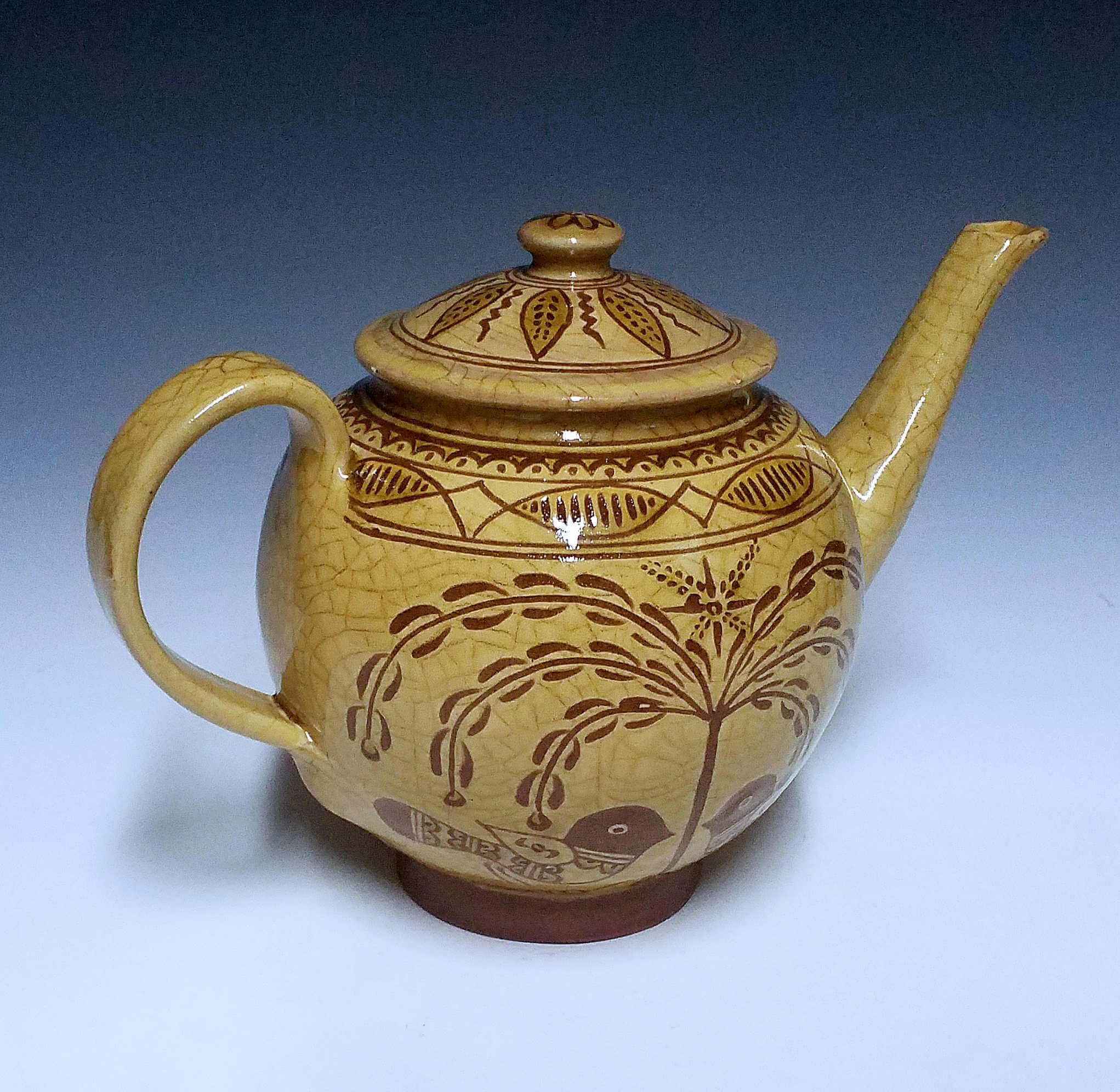 Teapot, sgraffito, Tree of Life