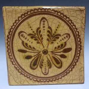 Tile, Sgraffito, 3 Petal Flower