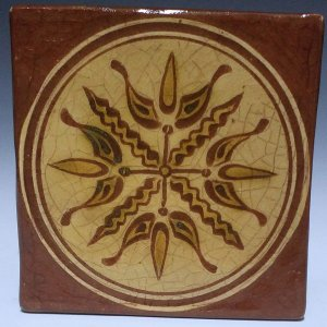 Tile, Sgraffito, 4 Tulip Dark