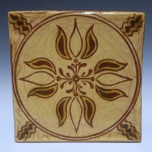 Tile, Sgraffito, 4 Tulip Light