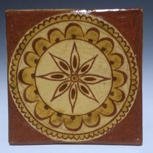 Tile, Sgraffito, 8 Point Star Dark