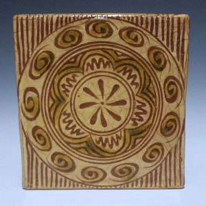 Tile, Sgraffito, Devon Geometric