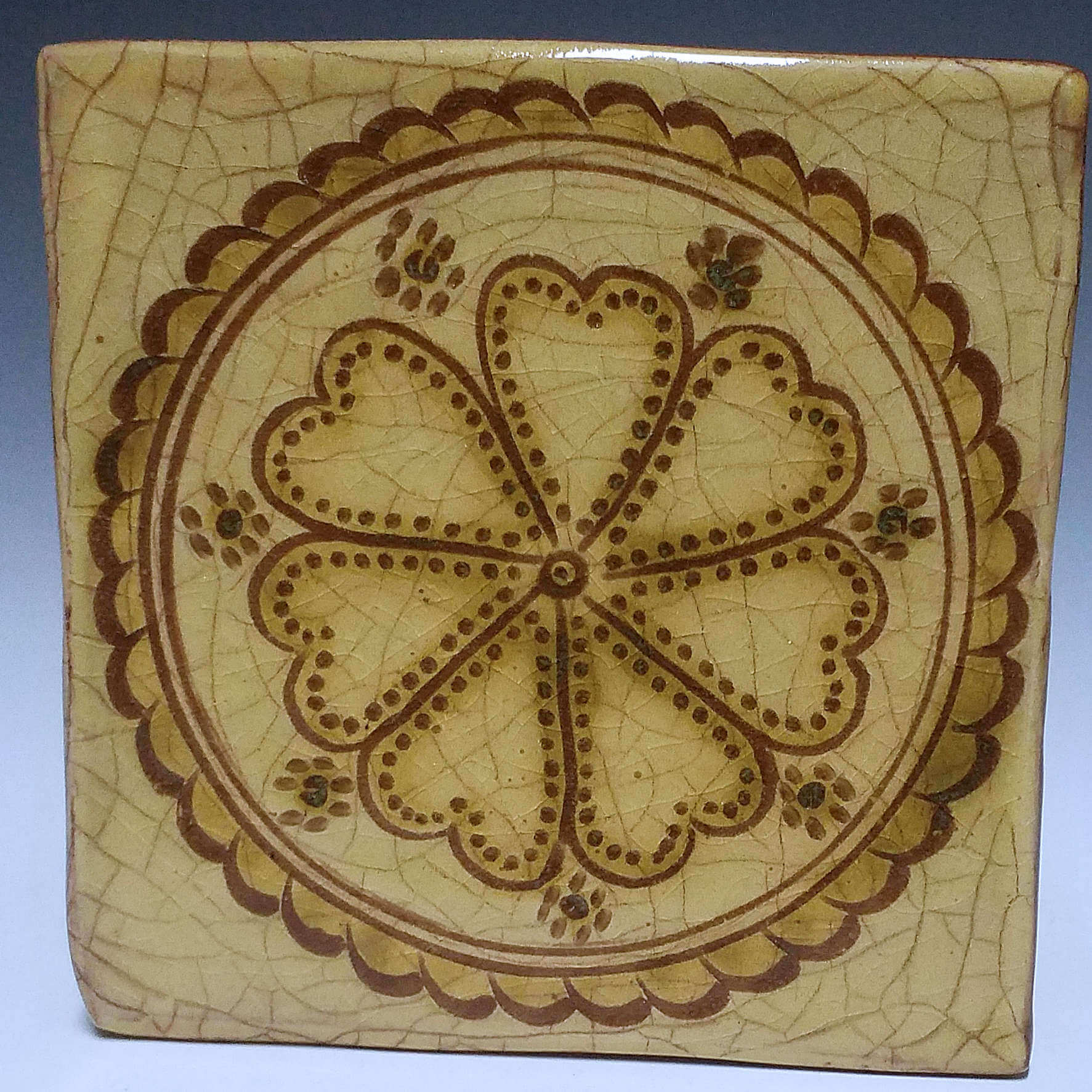 Tile, Sgraffito, Round Flower