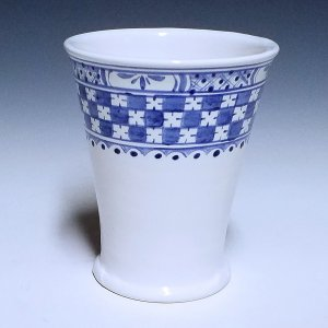 Tumbler, delftware, Checkered