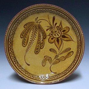 Round Plate, Sgraffito, Sprig